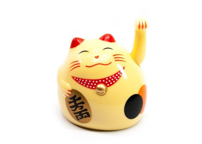 Кішка Манэки-неко махає лапою пластик кремова (9х8х7,5 см)(батарейки в комплект не входять) ЗП-27863A