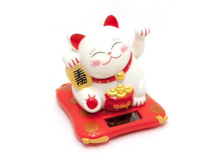 Кішка Манэки-неко на сонячній батареї (10,5х10х9см) ЗП-29730