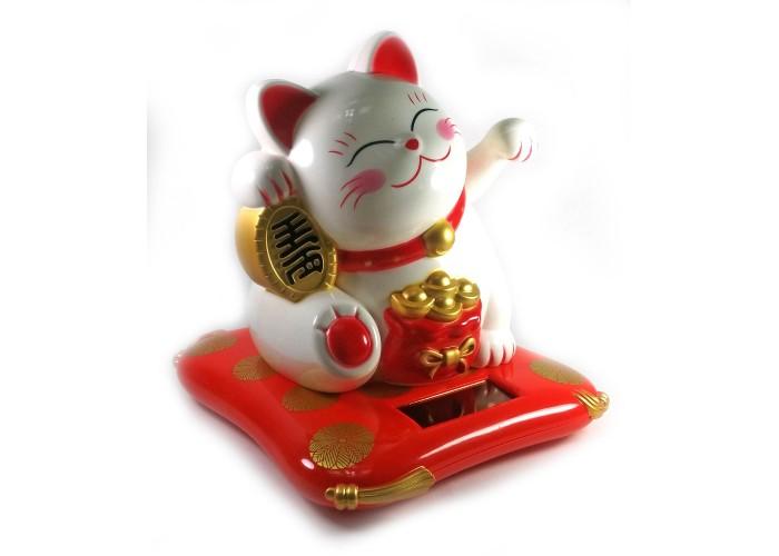 Кішка Манэки-неко на сонячній батареї махає лапою 17х16х14см пластик (30730)