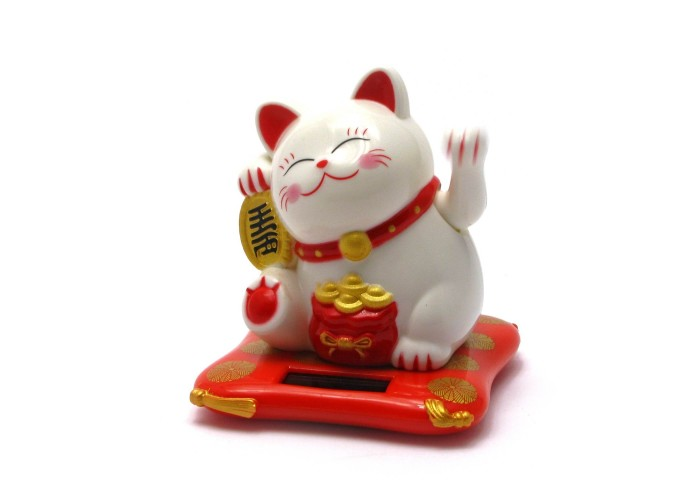 Кішка Манэки-неко на сонячній батареї махає лапою 8х7,5х7см пластик (28754)