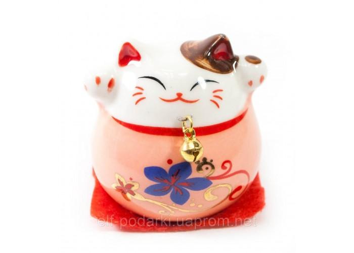 Кішка Манэки-неко рожева 5х5х5см кераміка (30831G)