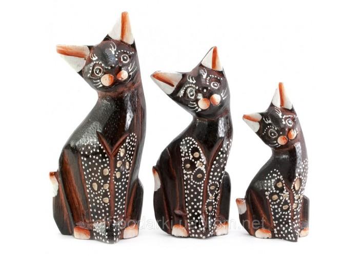 Кішки 3 шт дерев'яні коричневі (15х5х3 см 12х4,5х2,5 см 10,5х4,5х2,5 см)