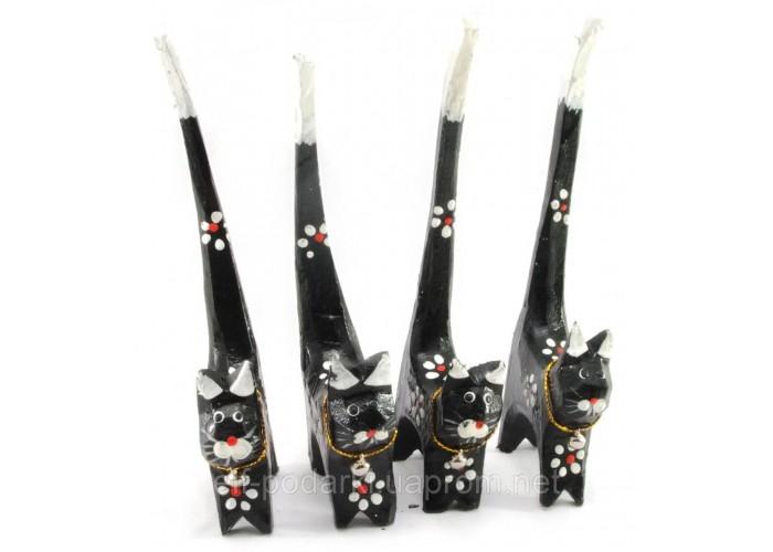 Кішки дерев'яні кольцедержатели чорні (н-р 4 шт)(15,5х5,5х2 см) ціна за набір