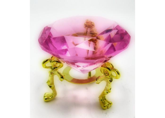 Кришталевий кристал на підставці рожевий 5см (18199)