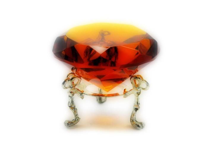 Кришталевий кристал на підставці бурштин (6 см) ЗП-20381