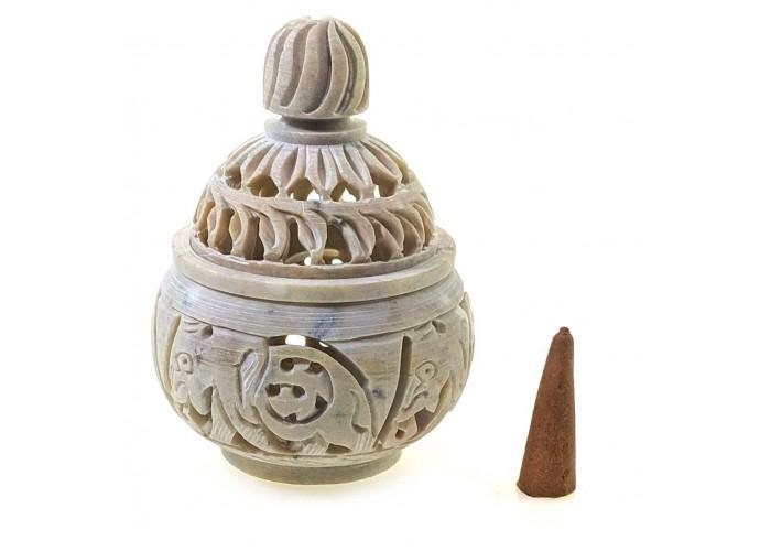 Курильниці з мильного каменю різьблена (10х7х7 см)