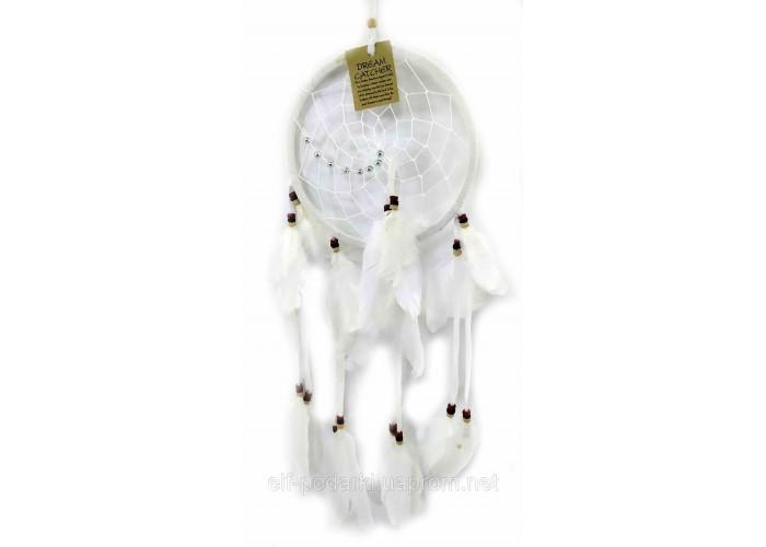 Ловець снів білий d-16,5 см h-45см (32682)