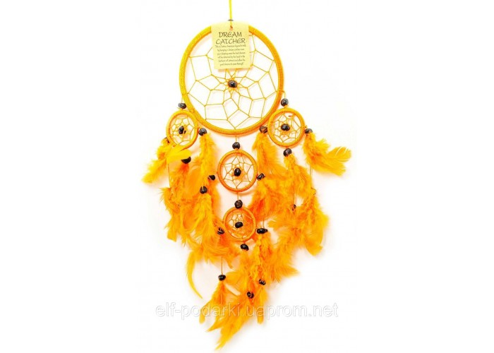 Ловець снів оранжевий d-12см h-45см (33571G)