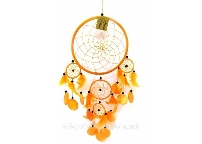 Ловець снів з черепашками помаранчевий (d-22 см h-60 см)