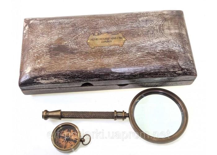 Лупа з компасом в дерев'яному футлярі 23,5х11х4см (28236)