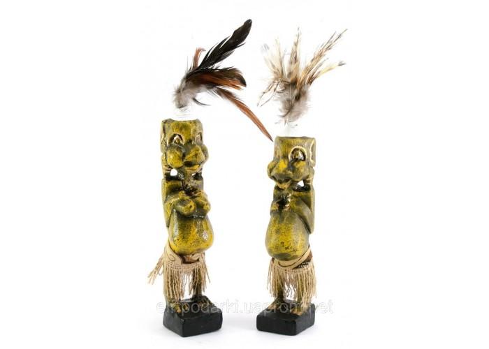 Папуаси пара різьблені дерево золоті (20,5х4х4 см)