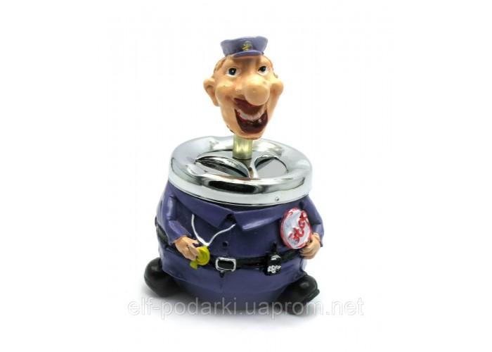 """Попільничка полімер з кришкою """"Поліцейський"""" (13,5х10,5х8,5 см)"""