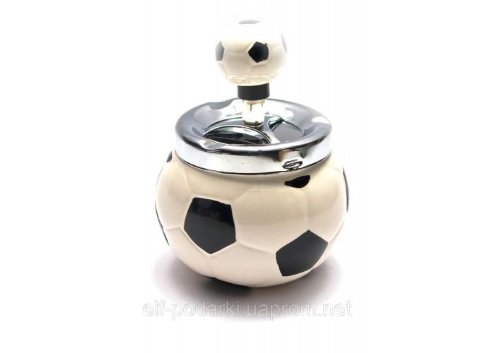 """Попільничка з кришкою керамічний """"Футбольний м'яч"""" (13х10х10 см)"""