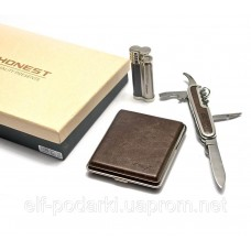 Подарочный набор (Зажигалка, портсигар, нож)