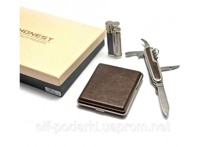 Подарунковий набір Honest Запальничка портсигар ніж (26375)