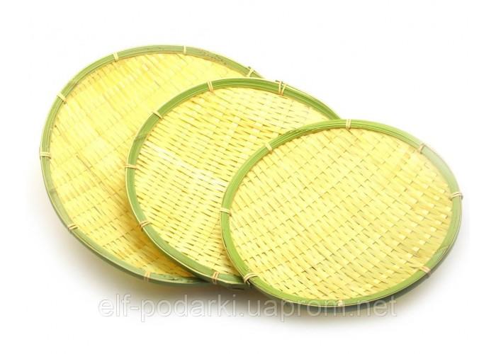 Плетені бамбукові підноси набір 3шт d-32,28,25 см (27991)
