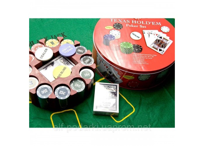 Покерний набір (2 колоди карт +240 фішок+сукно)(d-25. h -8,5 см)(вага фішки 4 гр. d-39 мм)
