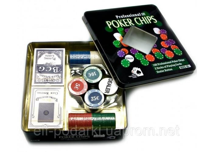 Покерний набір (2 колоди карт,100 фішок)(19,5х20,5х5 см)(вага фішки 4 гр. d-39 мм)