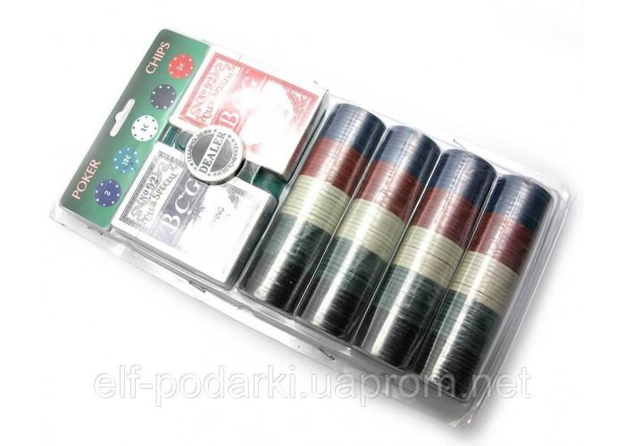 Покерний набір (2 колоди карт,сукно,200 фішок) (33х17,5х4,5 см)(вага фішки 4 гр. d-39 мм)