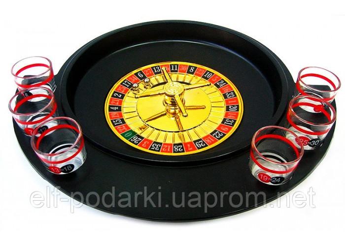 Рулетка з чарками чорна (30х27х6 см)(6 чарок дерев'яна подст)