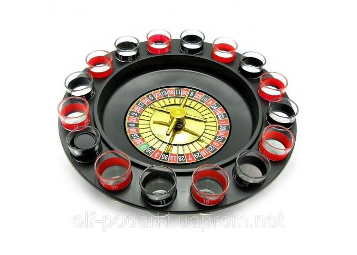Рулетка з чарками чорна (33х33х9 см)(16 чарок, пластмасова підставка)