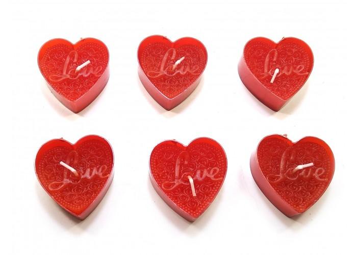 """Свічки """"Сердечка Love"""" (6 шт) червоні (14,5х10х2 см) ЗП-32157"""