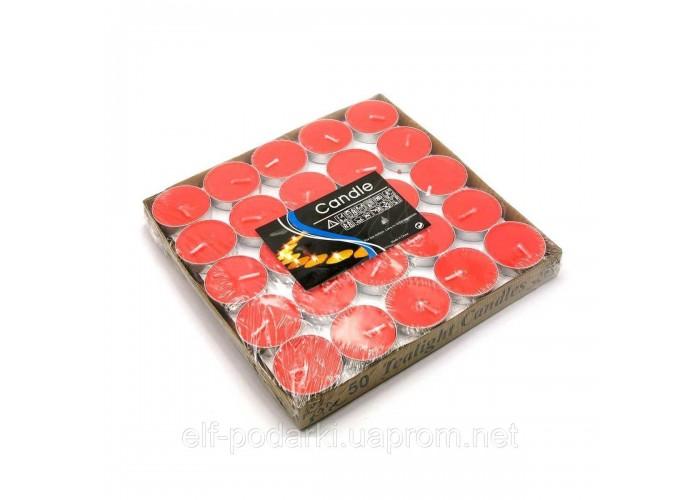 """Свічки """"Чайні"""" червоні (50шт/уп)(18х18х2 см) ЗП-26897"""