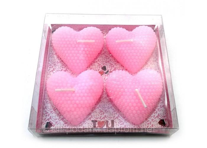 """Свічки """"Сердечка"""" рожеві набір 4шт (32115A)"""