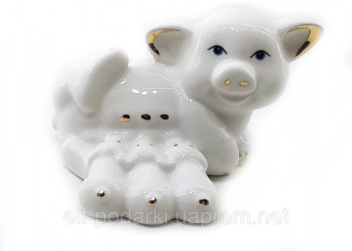 Свиня з поросятами порцеляновий біла (8,5х6,5х5,5 см)