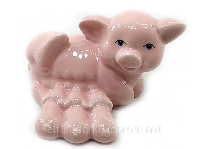 Свиня з поросятами порцеляновий рожева (8,5х6,5х5,5 см)