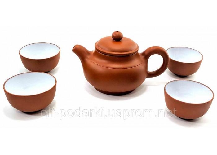 Сервіз глиняний чайник 150мл + 4 піали 30мл коричневий 17х18х10см (27997A)