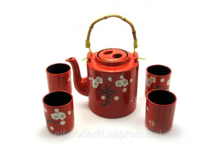 Сервіз керамічний чайник 1100мл 4 піали 125мл (27914)