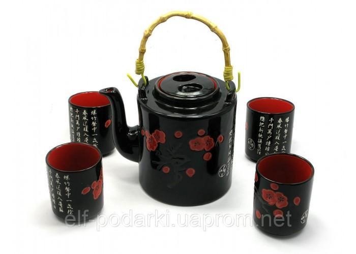 Сервіз керамічний чайник 700мл h-13,5 см d-9см 4 чашки 130мл h-7,3 см d-6см (27901)