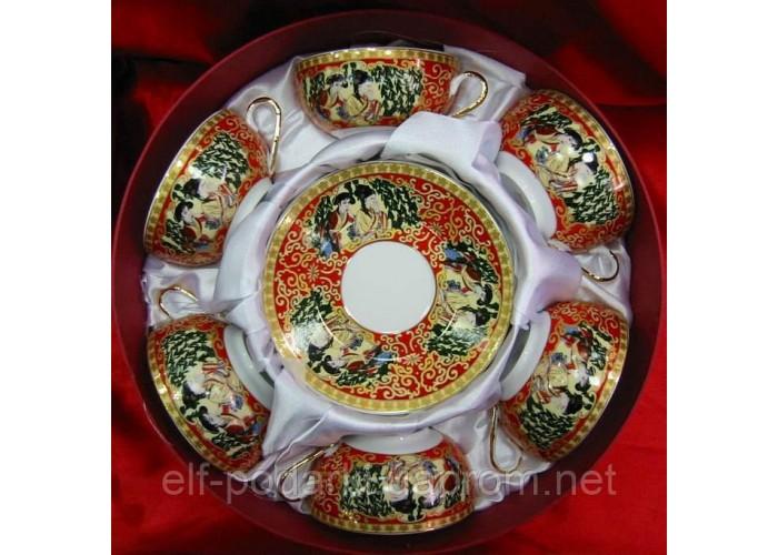 """Сервіз круглий фарфор 6 чашок +6 блюдець """"Червоний"""" 150мл h-4,5 см Діаметр-9,5 см блюдце Ø-13см (21405)"""
