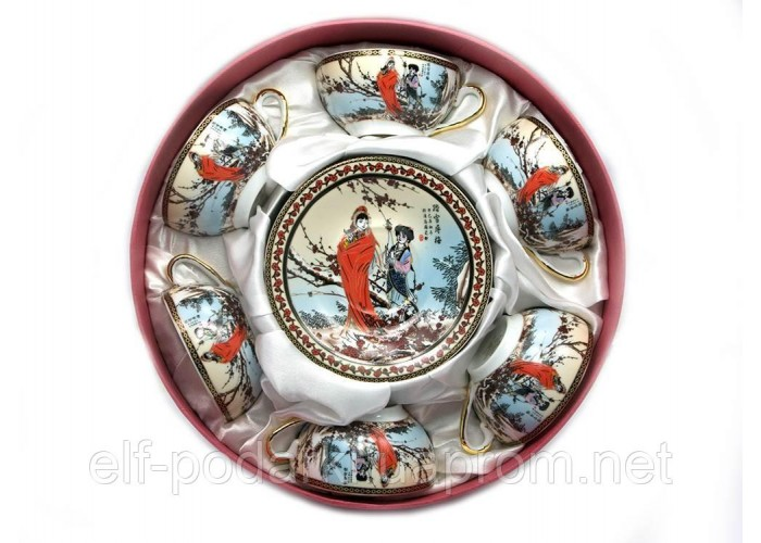 "Сервіз круглий фарфор 70мл 6 чашок+6 блюдець ""Сакура""h-4см Ø 7,3 см Ø блюдця 11см (18976)"