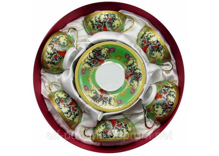 """Сервіз круглий фарфор 70мл """"Зелений"""" h-4см Ø 7,3 см Ø блюдця 11см (18975)"""