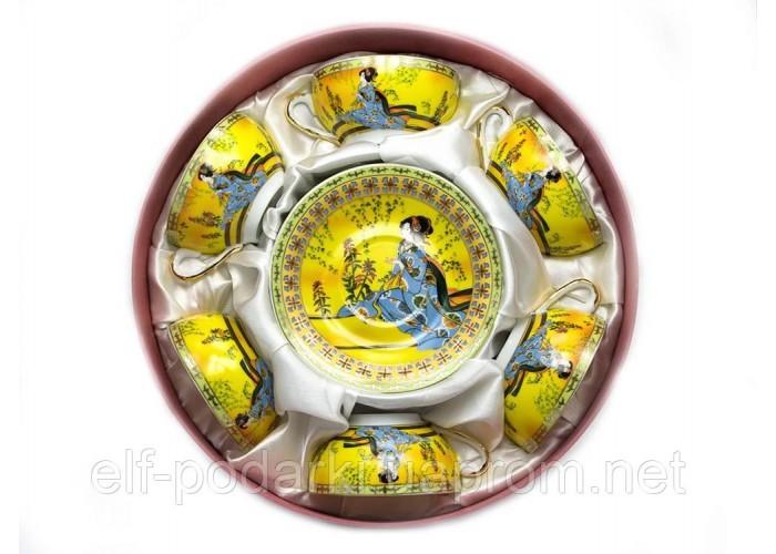 """Сервіз круглий фарфор 70мл 6 чашок+6 блюдець """"Жовтий""""h-4см Ø 7,3 см Ø блюдця 11см (20590)"""