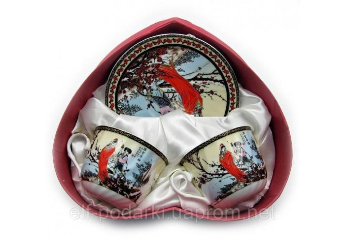 """Сервіз фарфор 2 чашки+2 блюдця """"Сакура"""" 160мл h-6см Ø 8см Ø блюдця 14см (18673)"""