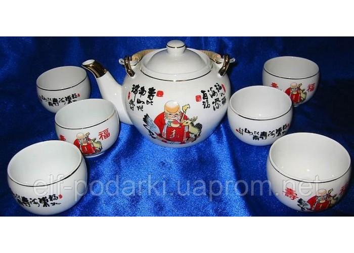 """Сервіз фарфор 1 чайник+6 чашок """"Шоусін"""" 200/800мл чашка/чайник (22539)"""