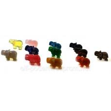 Фігурки слонів з напівкоштовних каменів набір 12шт (26520)