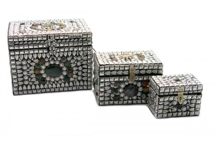 Скрині металеві з камінням (н-р 3 шт.)(20х17х16 см) ЗП-18239
