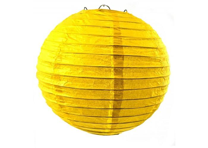 Ліхтар паперовий жовтий підвісний куля d-20см (27813G)