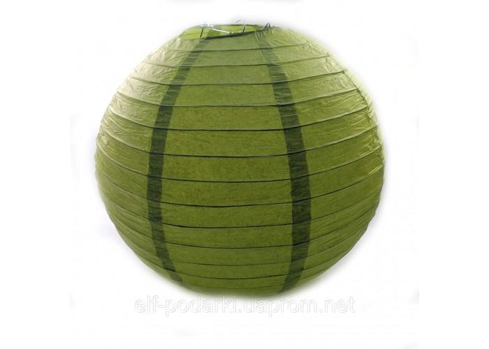 Зелений ліхтар паперовий підвісний куля d-40см (28801C)