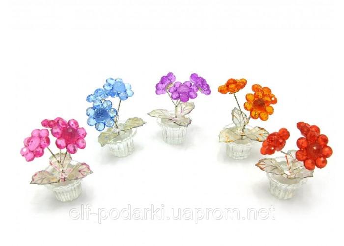 Квітка кришталевий 3 квітки 7х4,5х4,5см (18889)
