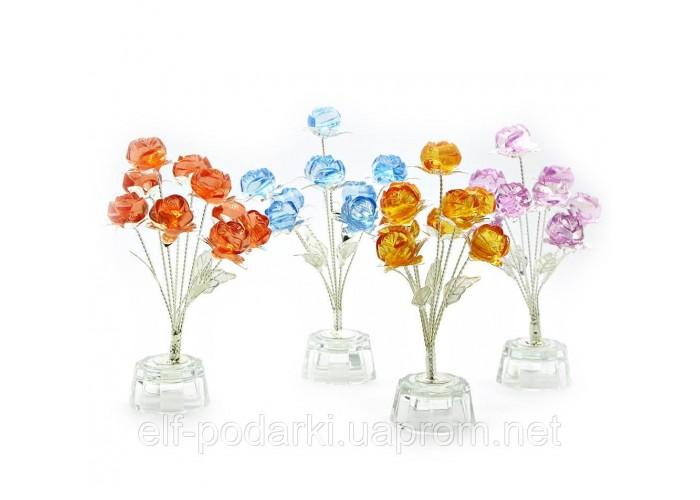 Квіти троянди (9шт.) кришталь(7х7х15 см)(8387) ЗП-18862