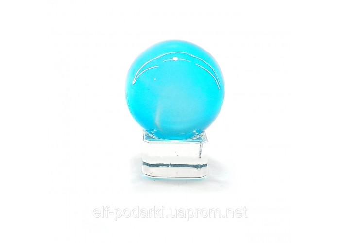 Кришталевий кулю на підставці блакитний 4см (32371)