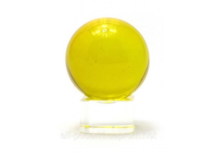 Кришталевий кулю на підставці жовтий 4см (28730)