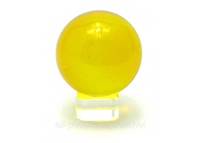 Кришталевий кулю на підставці жовтий 5см (28891)