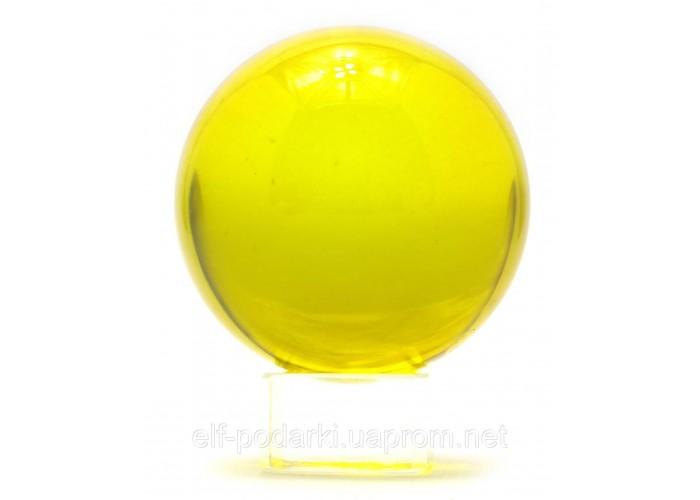 Кришталевий кулю на підставці жовтий 6см (28729)