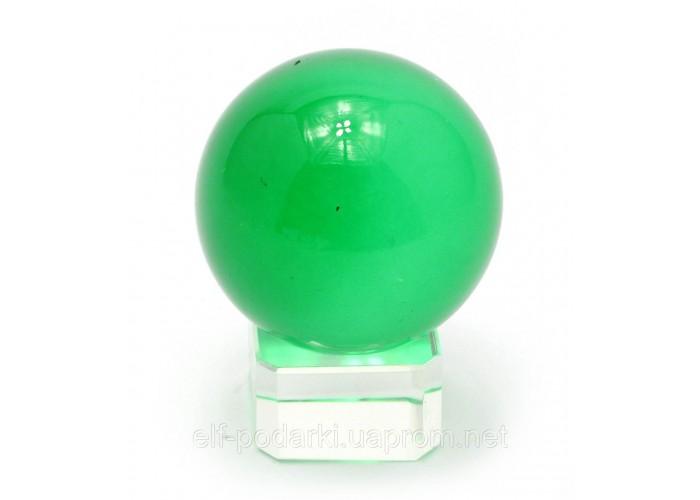 Кришталевий кулю на підставці зелений 4см (28859)